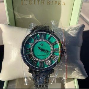 """Never worn! Judith Ripka """"London"""" Green Face Watch"""